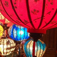 Close-up of silk lanterns