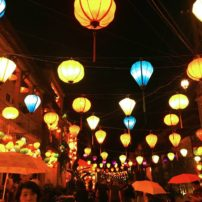 Lanterns over the street in the historic shopping area