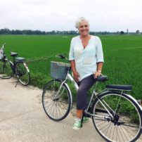 Lund on a bike ride in the rice paddies
