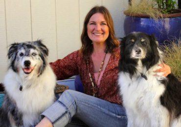 Patricia Ruff with her Australian shepherd companions, Buckaroo and Jillaroo.