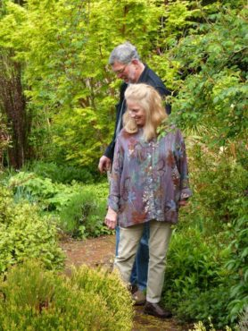 Chuck and Joanne enjoying the heather pathway.
