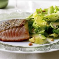 Baked Salmon with Avocado and Pine Nut Salad