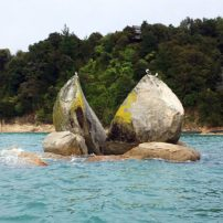 """Split Apple Rock"" as seen from the water taxi"