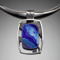 """Crevasse"" enameled pendant"