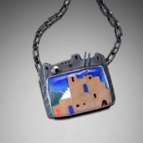 """Pueblo Light"" enameled pendant"