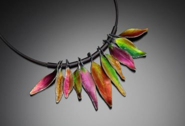 """Light in Falltime"" enameled necklace"