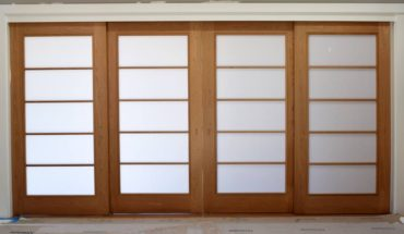 Custom four-panel solid cherry shoji sliding door system