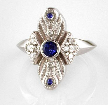 Diamonds and sapphires in 14k white gold