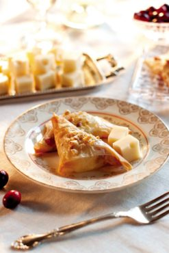 Cranberry and Walnut Phyllo Triangles