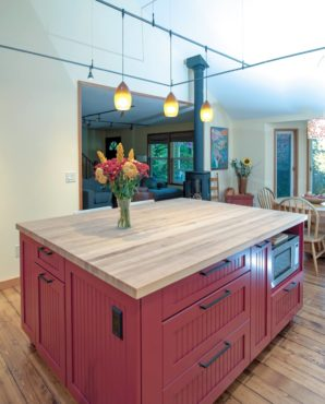 Butcher block tops and ample storage make for a great prep center.