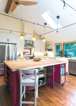 This multitasking island provides storage, seating and prep space.
