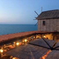 Historic windmill restaurant overlooking the Black Sea