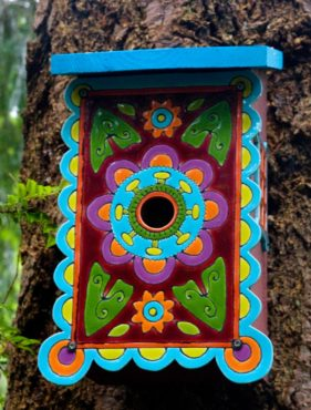 This unique mosaic birdhouse was created by Vashon Island artist Clare Dohna.