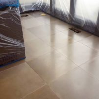 Concrete floor tiles can be quite large and designed with custom colors and material inlays such as shells, fossils, rocks, etc.