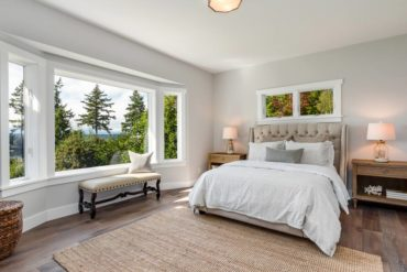 The master bedroom offers a stunning view.