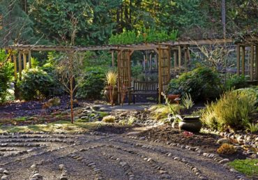 Rock labyrinth and pergola
