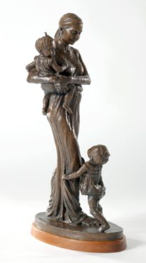"""Wholehearted,"" 2015, bronze: A young mother's arms may hold just one, but her heart is large enough for both of her twins."