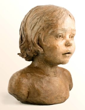 """La Petite Fleur,"" 2012, bronze: A portrait of a curious toddler taking in the world through innocent eyes reminds viewers of younger days. Her soft demeanor is an outward reflection of her purity of heart."