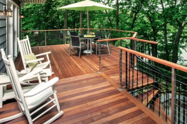 Rainier cable rail by AGS Stainless with a wood top rail provided by the builder