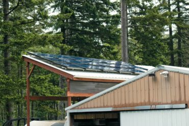 Solar panels on Dale and Carolyn Schusler's garage roof
