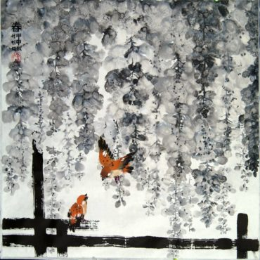 """Morning Visitors,"" painted on rice paper with traditional Chinese ink"