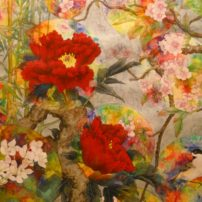 "In ""All are One,"" the peony is China, cherry blossom is Japan, orchid is Korea and bamboos are Pacific Islands, and the painting represents that ""we are in it together."""