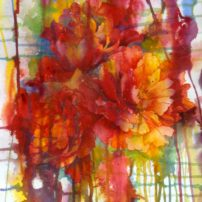 """""""Peony in Maze"""" was a demonstration piece of pouring watercolors on watercolor paper."""