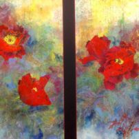"O'Conneel was awed by tree peonies in full bloom, and captured them in ""The Seduction of Beauty (Diptych)."""