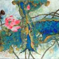 """In """"Azure Water,"""" O'Connell used her own interpretation for the lotus, which is many Chinese artists' favorite subject. Hers shows the life cycle of bud to full blossom flower, then seed pod."""