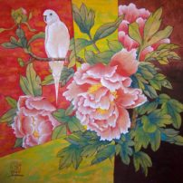 """""""Your Life was Joy,"""" one of two paintings representing the artist's mother (as the bird)."""
