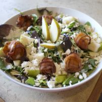 Pear and scallop salad with caramelized pear vinaigrette