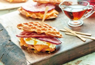 Ham and Waffle Breakfast Sandwiches