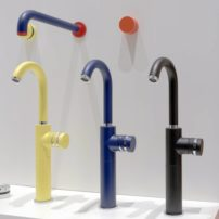 Personalize your bath with colored faucets.