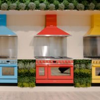 Smeg ranges with coordinating chimney-style exhaust hoods