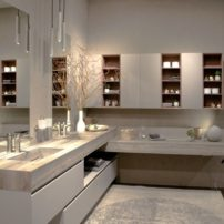 Combining open and concealed storage in the bath is trending.
