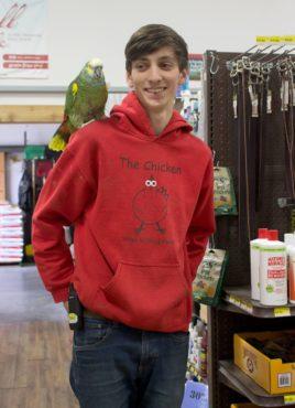 Dan shows off Sky, Viking Feed's pet parrot
