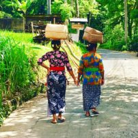 Balinese women going about their daily chores