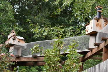 Fanciful birdhouses decorate the ramp.