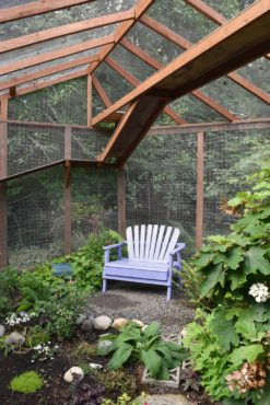 A colorful bench invites visitors to linger.