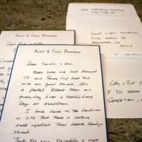 Some of the daily notes that Cary Bozeman pens