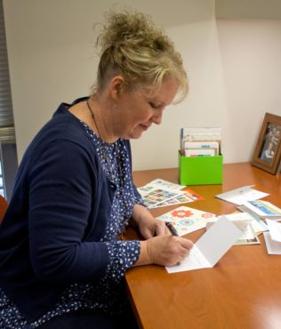Katie Walters pens five to 25 thank-you letters in a week.