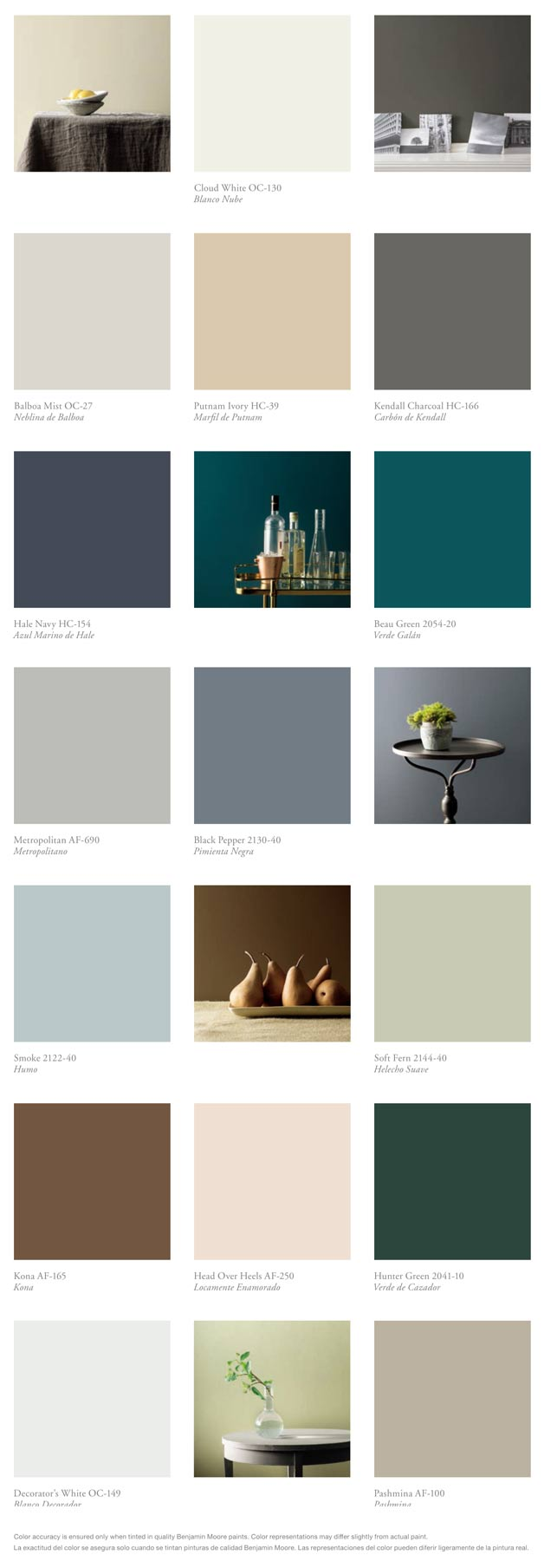 Color swatches shown here were provided by Benjamin Moore. Due to fluctuating ink coverage in the printing process, these colors may vary slightly. Please check with your local paint supplier for its true colors of current trends.