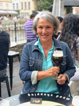 Enjoying the Belgian beer