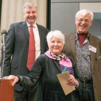 Carla O'Connor, First Place in 2D Category, with Brad Miller and Alan Newberg