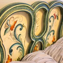 Close-up of headboard in guest suite