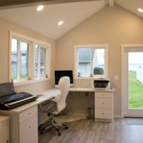Inside the she shed: work counters, a keyboard