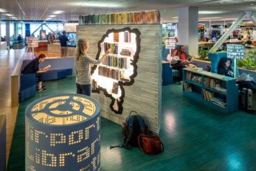 The Airport Library at Schiphol offers about 500 books, written by Danish authors and translated into some 40 languages. (Photo courtesy Schiphol Media Library)