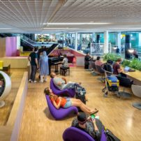 The library at the Schiphol, Amsterdam's airport, is a place to get comfy. (Photo courtesy Schiphol Media Library)