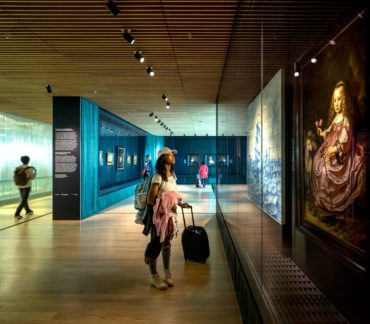 The Rijksmuseum at Schiphol Airport features a small exhibit of original classic paintings.
