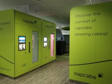 If you don't mind paying a little money, these nap cabins at the Munich airport will give you just enough space to catch up on sleep during a long layover, and come with a bed, desk and Wi-Fi.